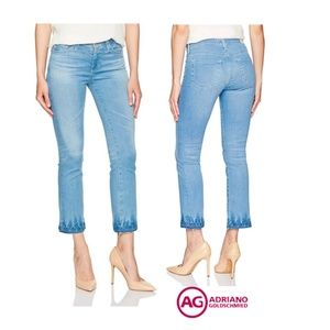 New AG The Jodi Crop Jeans Crinkle Wash Hem